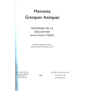 Numismatic foto  Books Greek coins Monnaies Grecques Antiques provenant de la collection de S. Pozzi - catalogue de la vente à Genève de 1920