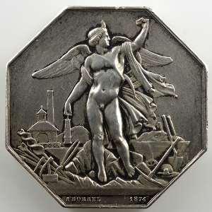 BORREL 1874   Société Anonyme des Mines de la Loire   jeton octogonal en argent   38mm    TTB