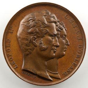 BORREL   Léopold I et Louise Marie d'Orléans   Médaille en bronze 43mm   Mariage à Compiègne le 9 août 1832    SUP/FDC