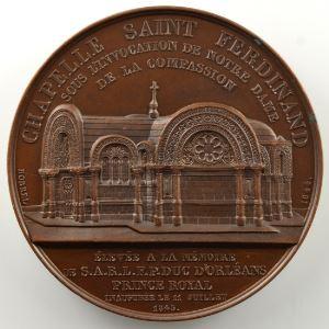 BORREL   Médaille en cuivre   52mm   Ferdinand Philippe Louis, Duc d'Orléans   1844    SUP