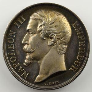 BOVY A.   Médaille en argent 36mm   Napoléon III   Exposition universelle de Besançon   1860    SUP
