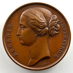 CAQUE F.   Médaille en cuivre   50mm   Napoléon III et Eugénie    SUP/FDC
