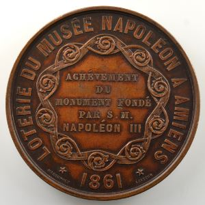 CAQUE   Médaille en bronze  50mm   Loterie du Musée Napoléon à Amiens   1861    SUP