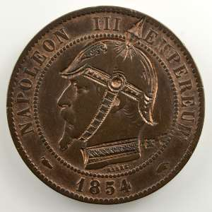 casque à pointe sur 10 cent.   1854 A    TB+