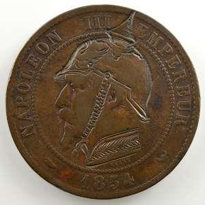 casque à pointe sur 10 cent.   1854 W    TB/TB+