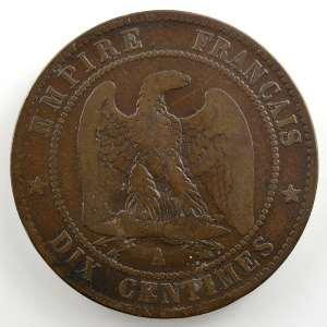 casque à pointe sur 10 cent.   1856 A    TB
