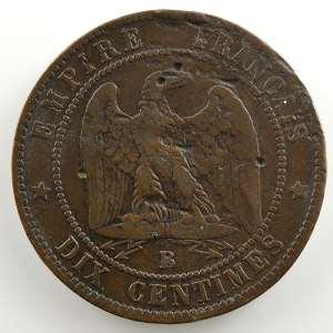 casque à pointe sur 10 cent. (regravée 1870)    TB+