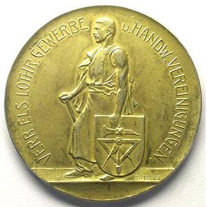 Ch. ISLER   Gewerbe Austellung 14-28 août 1910 (Exposition industrielle)   Médaille en argent doré   45mm    SUP