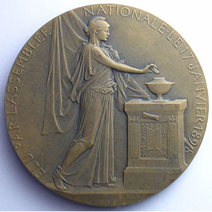 CHAPLAIN 1897   élu par l'Assemblée Nationale le 17.01.1895   Bronze   68 mm    SUP/FDC