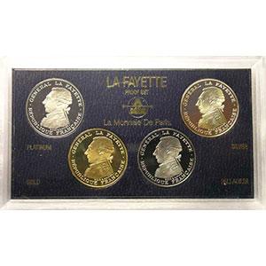 Coffret de 4 pièces de 100 Francs en platine, or, palladium et argent   1987    BE