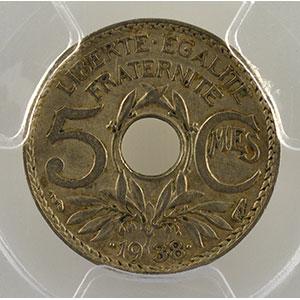 Numismatic foto  Coins Coins of France 1793-1959 5 Centimes G.171   points avant et après la date .1938. étoile entre R et F    PCGS-AU50    TTB/TTB+
