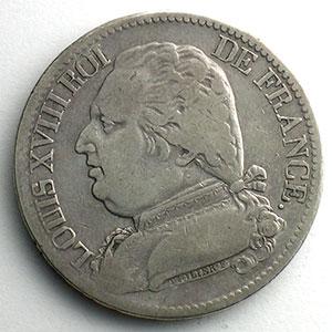 Numismatic foto  Coins Coins of France 1793-1959 5 Francs G.591   Louis XVIII 1815 L  (Bayonne)  5/4    TB