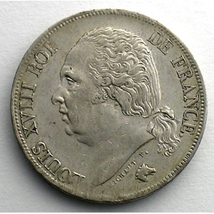 Numismatic foto  Coins Coins of France 1793-1959 2 Francs G.513   Louis XVIII 1817 K  (Bordeaux)    TTB+