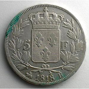 Numismatic foto  Coins Coins of France 1793-1959 5 Francs G.614   Louis XVIII   buste nu 1818 B  (Rouen)    TB+/TTB