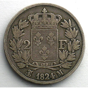 Numismatic foto  Coins Coins of France 1793-1959 2 Francs G.513   Louis XVIII 1824 M  (Toulouse)    B/TB