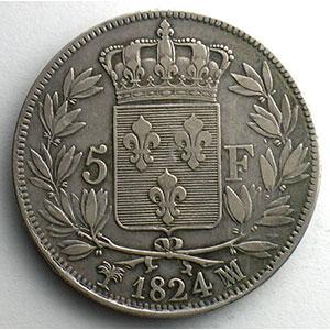 Numismatic foto  Coins Coins of France 1793-1959 5 Francs G.614   Louis XVIII   buste nu 1824 MA  (Marseille)    TTB