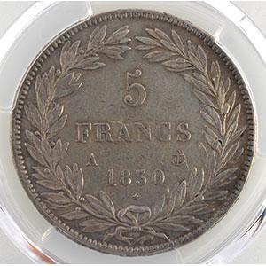 Numismatic foto  Coins Coins of France 1793-1959 5 Francs G.675a   sans le I, tranche en relief 1830 A  (Paris)    PCGS-XF40    TB+/TTB