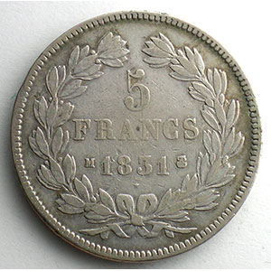 Numismatic foto  Coins Coins of France 1793-1959 5 Francs G.677   Louis Philippe I 1831 M  (Toulouse)    TB/TB+
