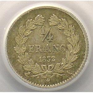 Numismatic foto  Coins Coins of France 1793-1959 1/4 Franc G.355   Louis-Philippe I 1832 A  (Paris)    PCGS-MS64    pr.FDC