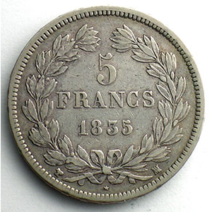 Numismatic foto  Coins Coins of France 1793-1959 5 Francs G.678   Louis Philippe I 1835 MA  (Marseille)    TB+/TTB