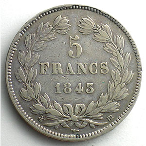 Numismatic foto  Coins Coins of France 1793-1959 5 Francs G.678   Louis Philippe I 1843 BB  (Strasbourg)    TB+/TTB