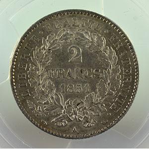 Numismatic foto  Coins Coins of France 1793-1959 2 Francs G.522   Cérès  II° république 1851 A  (Paris)    PCGS-AU58    SUP