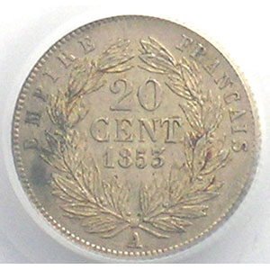 Numismatic foto  Coins Coins of France 1793-1959 20 Centimes G.305   Napoléon III tête nue 1853 A  (Paris)    PCGS-AU58    SUP