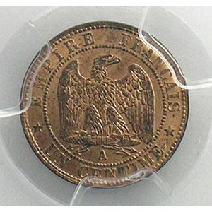 Numismatic foto  Coins Coins of France 1793-1959 1 Centime G.86   Napoléon III tête nue 1853 A  (Paris)    PCGS-MS65RB    FDC