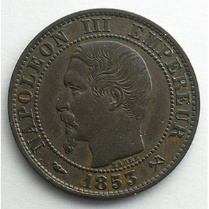 Numismatic foto  Coins Coins of France 1793-1959 5 Centimes G.152   Napoléon III tête nue 1853 B  (Rouen)    TTB