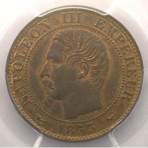 Numismatic foto  Coins Coins of France 1793-1959 5 Centimes G.152   Napoléon III tête nue 1853 W  (Lille)    PCGS-MS64BN    pr.FDC