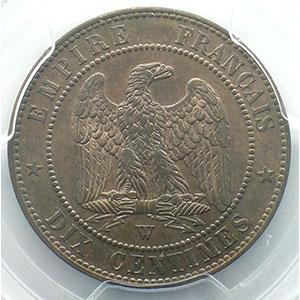 Numismatic foto  Coins Coins of France 1793-1959 10 Centimes G.248   Napoléon III tête nue 1853 W  (Lille)    PCGS-MS64RB    pr.FDC