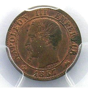 Numismatic foto  Coins Coins of France 1793-1959 1 Centime G.86   Napoléon III tête nue 1857 D  (Lyon)    PCGS-MS63BN    SUP/FDC