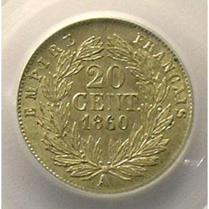 Numismatic foto  Coins Coins of France 1793-1959 20 Centimes G.305   Napoléon III tête nue 1860 A  (Paris)    PCGS-AU58    SUP