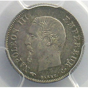 Numismatic foto  Coins Coins of France 1793-1959 20 Centimes G.305   Napoléon III tête nue 1860 A  (Paris)    PCGS-MS63    SUP/FDC