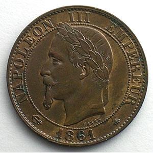 Numismatic foto  Coins Coins of France 1793-1959 5 Centimes G.155   Napoléon III tête laurée 1861 A  (Paris)    SUP