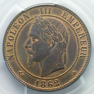 Numismatic foto  Coins Coins of France 1793-1959 10 Centimes G.253   Napoléon III tête laurée  1862 A  (Paris)    PCGS-MS63BN    SUP/FDC