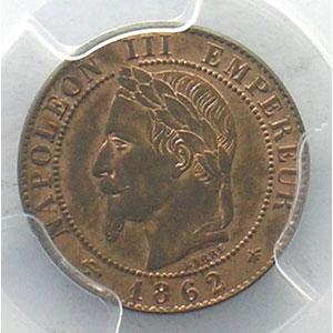 Numismatic foto  Coins Coins of France 1793-1959 1 Centime G.87   Napoléon III tête laurée 1862 A  (Paris)    PCGS-MS63RB    pr.FDC
