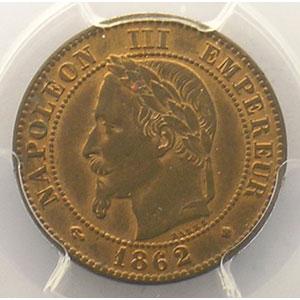 Numismatic foto  Coins Coins of France 1793-1959 2 Centimes G.104   Napoléon III tête laurée 1862 petit BB  (Strasbourg)    PCGS-MS64RB    pr.FDC