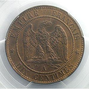 Numismatic foto  Coins Coins of France 1793-1959 10 Centimes G.253   Napoléon III tête laurée  1863 A  (Paris)    PCGS-MS63RB    SUP/FDC
