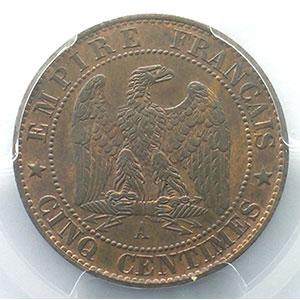 Numismatic foto  Coins Coins of France 1793-1959 5 Centimes G.155   Napoléon III tête laurée 1863 A  (Paris)    PCGS-MS65BN    FDC