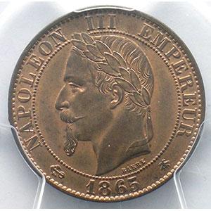 Numismatic foto  Coins Coins of France 1793-1959 5 Centimes G.155   Napoléon III tête laurée 1865 A  (Paris)    PCGS-MS65RB    FDC