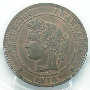 Numismatic foto  Coins Coins of France 1793-1959 10 Centimes G.265   Cérès 1870 A  (Paris)  A moyen    PCGS-AU58    SUP