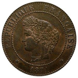 Numismatic foto  Coins Coins of France 1793-1959 5 Centimes G.157   Cérès 1871 A  (Paris)    PCGS-MS64RB    pr.FDC
