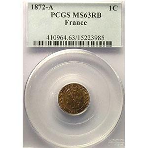 Numismatic foto  Coins Coins of France 1793-1959 1 Centime G.88   Cérès 1872 A  (Paris)    PCGS-MS63RB    SUP/FDC