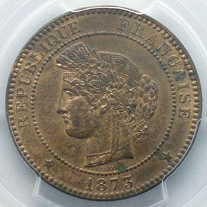 Numismatic foto  Coins Coins of France 1793-1959 10 Centimes G.265   Cérès 1873 A  (Paris)    PCGS-MS63RB    SUP/FDC