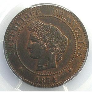 Numismatic foto  Coins Coins of France 1793-1959 5 Centimes G.157a   Cérès 1874 A (Paris)    PCGS-MS64RB    pr.FDC