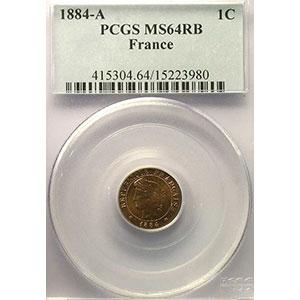 Numismatic foto  Coins Coins of France 1793-1959 1 Centime G.88   Cérès 1884 A  (Paris)    PCGS-MS64RB    pr.FDC