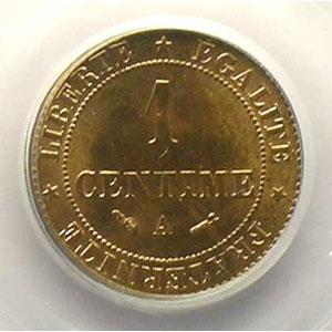 Numismatic foto  Coins Coins of France 1793-1959 1 Centime G.88   Cérès 1884 A  (Paris)    PCGS-MS65RB    FDC