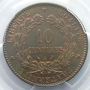 Numismatic foto  Coins Coins of France 1793-1959 10 Centimes G.265   Cérès 1887 A  (Paris)    PCGS-MS63BN    SUP/FDC