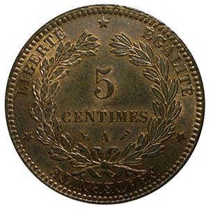 Numismatic foto  Coins Coins of France 1793-1959 5 Centimes G.157a   Cérès 1896 A (Paris) faisceau    PCGS-MS64RB    pr.FDC